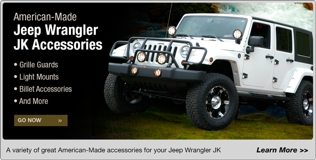 American-Made Jeep Wrangler JK Accessories: Grille Guards, Light Mounts, Billet Accessories, and More